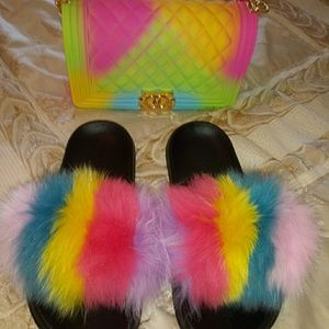 Fur slides and matching purse
